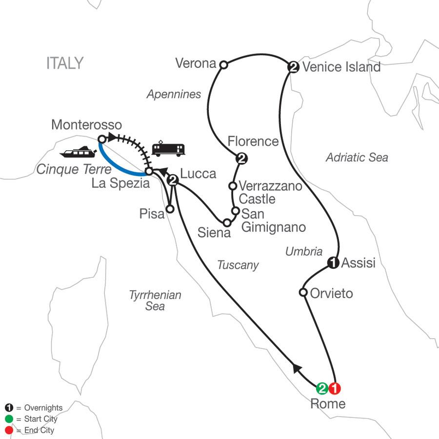 2022 Italy Tour Map